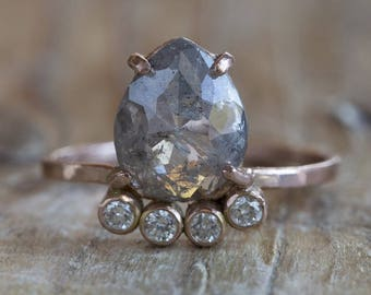 Natural Grey Rose Cut Arc Diamond Ring