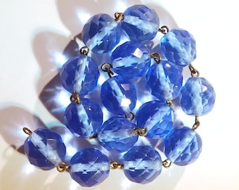 Vintage Cornflower Blue Faceted Glass Beads Necklace