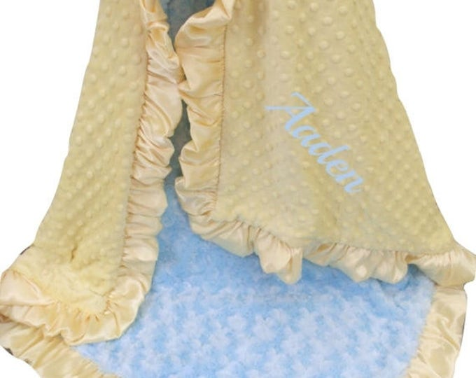 SALE Personalized Yellow and Baby Blue Minky Blanket, Embroidered Vintage Colors Swaddle Blanket Blue and Yellow Ruffle Blanket