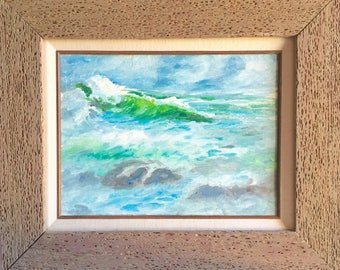 Genuine Worm Wood Framed Large Original Painting Ocean Scene 12x16 inches Canvas