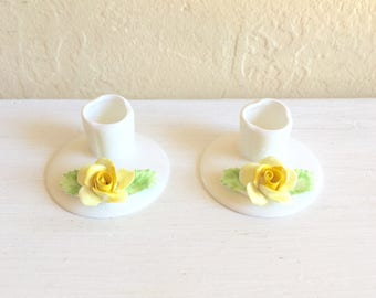 Matching Porcelain White Candlesticks with Yellow Roses Vintage 2 Two