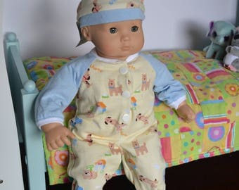 Baby Doll Clothes - Puppy Dog Sleeper with Hat - YELLOW BLUE WHITE - for 15 inch dolls - fits Bitty Baby, Bitty Twins