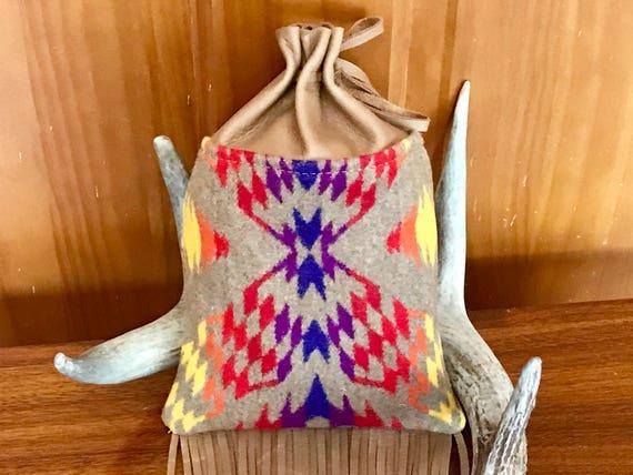 Fringed Cedar Bag / Medicine Bag / Possibles Bag 2XL Wool & Leather Tan Thunder and Lightening
