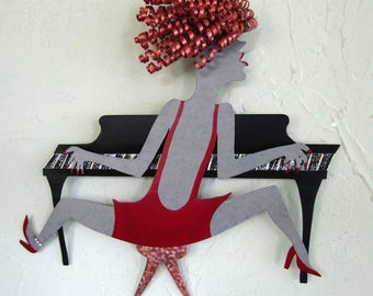 Metal Piano Wall Art Sculpture Lady Piano Player Red Head Recycled Metal Music Wall Decor Black Red Musician Jazz Singer Wall Art 13 x 13