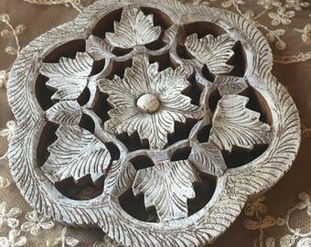 Vintage Whitewashed Wooden Floral Trivet from India