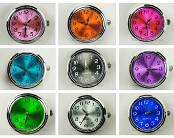 1 Snap Watchface 22mm Snap Charm in Various Colors, Yellow, Blue, Pink, Silver, Fuscia and More