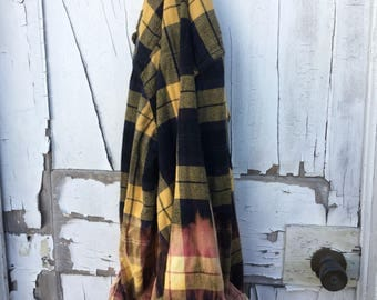 2xl Yellow & Navy Faded Vintage Wash Flannel