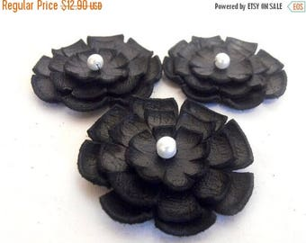 40% OFF SALE Jewelry supplies leather layered flowers for pendants, necklaces, brooches, shoes clips etc Handmade supplies