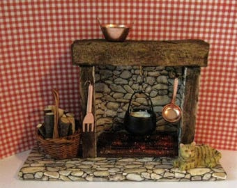 Dollhouse Fireplace, country fireplace, dolls house fireplace, cottage fireplace, Stone-look fireplace, dark oak, twelfth scale miniature