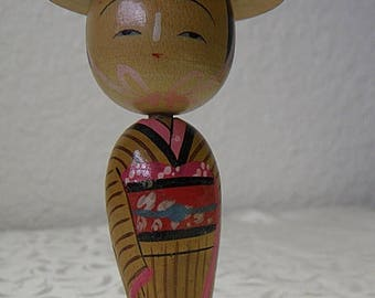 christmasinjuly Kokeshi Doll with Hat Bobble Head