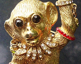 Serious Monkey Business:  Large, Bejeweled, Very 3D Monkey Brooch c.1960's, Unsigned