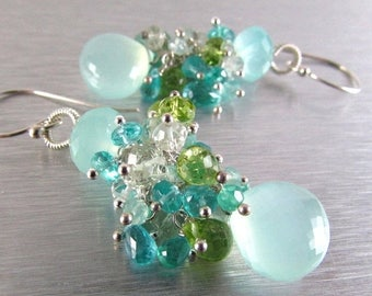 25 OFF Aqua Chalcedony Cluster Mixed Gemstone Sterling Silver Earrings
