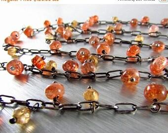 25 OFF Long Versatile Sunstone And Mystic Gold Quartz Necklace, Boho Style Oxidized Silver Necklace