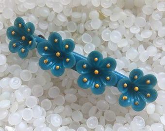 vintage barrette, blue  flowers, molded plastic flowers,tropical vibe,