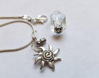 Fill Yourself Crystal Cremation Ash Urn with Silver Sun Charm Memorial Cremation Jewelry Necklace Pet