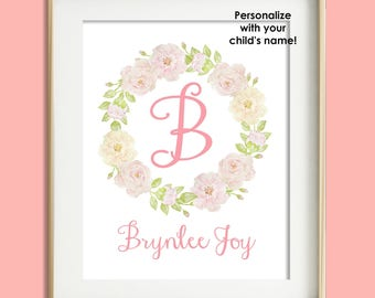 Personalized Nursery Print, Baby Girl Nursery Wall Decor, Blush Pink Nursery, Personalized Baby Nursery Art, Child Wall Art, Floral Monogram