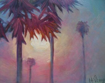 """Tropical Sunrise Painting, Small Oil Painting, Palm Trees Painting, 6x8"""" Oil on Panel"""