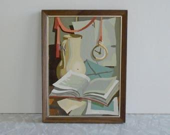 still life paint-by-number, vintage paint by number, midcentury pbn, scene with book, envelope, pitcher and clock, small pastel kit painting