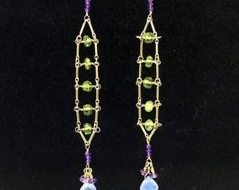 FINAL SALE Green Gemstone Peridot Ladder Earrings, Chandelier Earrings Wire Wrap Blue Green Earrings 14kt Gold Filled Long Earrings Boho Chi