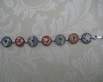 SILVER  INLAY  BUTTON  Bracelet