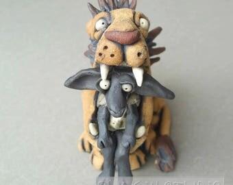 Lion and Sheep Ceramic Animal Sculpture
