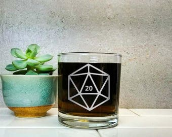 Set of Six | Polyhedral Dice | Etched Scotch Glasses | DM Gift | Dungeon Master | Whiskey Glasses | RPG | Dungeons and Dragons