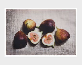 fig photograph, fig print, rustic kitchen decor, country farmhouse decor, food photography, purple wall art, fruit still life, fruit art
