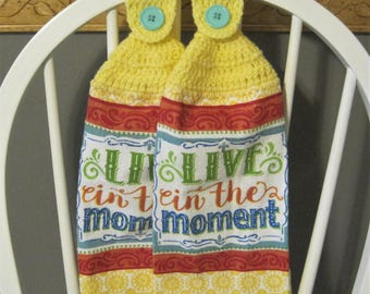 2 Crocheted Hanging Kitchen Towels - Live in the Moment