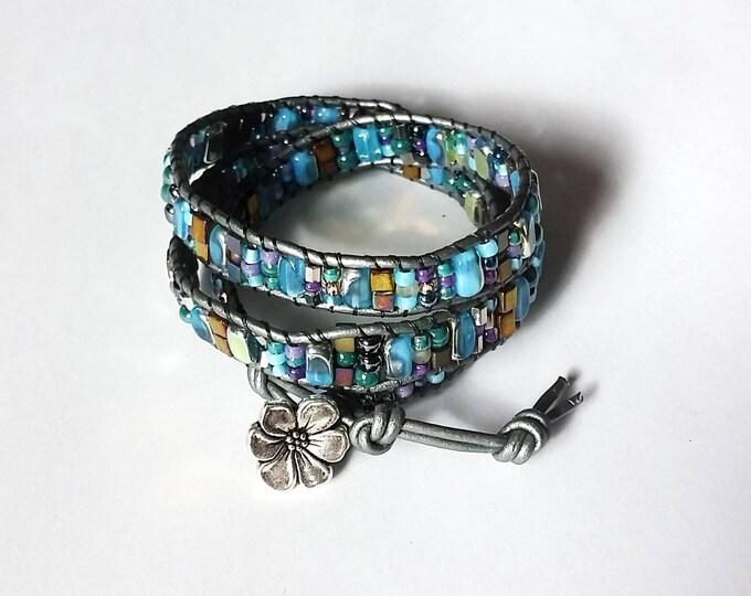 Mostly Aqua Triple Wrap Bracelet, Adjustable