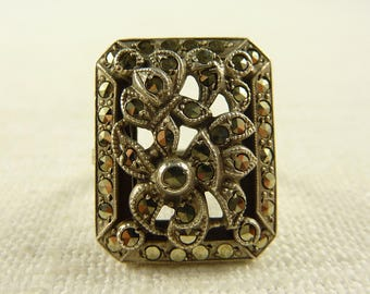 Size 5.5 Antique Art Deco Sterling Marcasite Ring