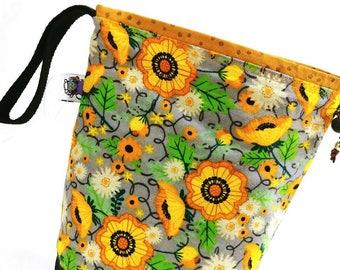 Medium Project Bag Knitting Crochet Drawstring -  Morning Flowers (flannel)