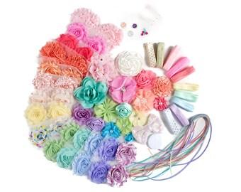 Spring Chic : DELUXE DIY Flower Elastic Headband Kit | MAKES 25+ Rainbow Hair Accessories | Baby Showers + Birthdays