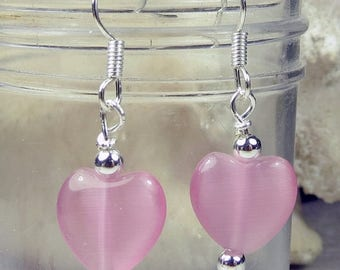 SALE, 50%, Pink Cats Eye Heart dangle earring in silver for holidays, valentines day, cancer support