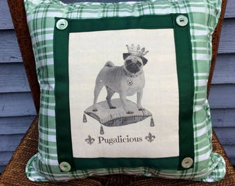Pug Pillow,Decorative throw Pillow, Dog Art, French Country Decor, Farmhouse Decor, Green Plaid Polished Cotton Front, Vintage Buttons