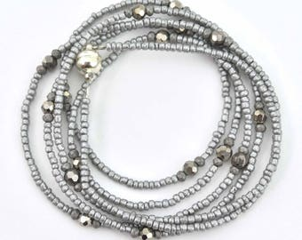 Silver Gray Seed Bead Single Strand Beaded Necklace