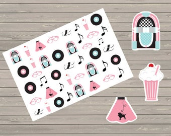 50's Theme Planner Stickers, Fit Erin Condren Life Planner & Other Planners, Stickers, Party Stickers, Cute Stickers