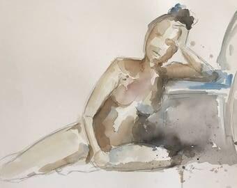 Figure Art - Figurative Painting - Nude Female Painting - Watercolor Figure