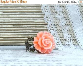 Orange Rose Ring Iridescent Ring Orange Flower Ring Bright Ring Summer Ring Adjustable Ring