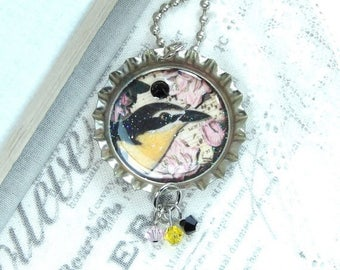 Bird Pendant Necklace Victorian Necklace Bottle Cap Necklace Music Sheet Necklace Bird Lover Gift