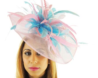 Turquoise and Candy Pink Fascinator Ascot Kentucky Derby Proms **SAMPLE SALE**