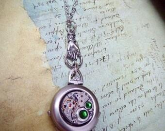 Pendant Locket - Steampunk jewelry necklace - Hand holding Double locket Emerald Swarovski crystals - Watch parts - Pendant- Bridesmaid gift