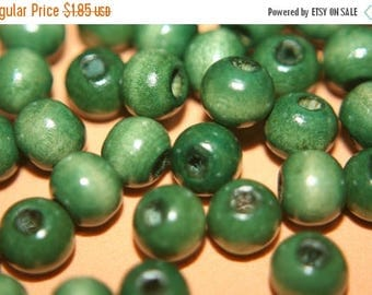 SUMMER CLEARANCE NEW - Round Shape Forest Green Rosary Wood Beads - 7mm - 100 pcs