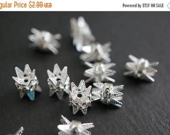 SUMMER SALE Silver Plated Rhinestone Spacers with Prongs for End Beads Clasps - 6mm - 5 pcs