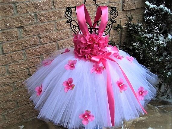 Rosa Blumen Tutu Blumenmädchen Kleid Festzug