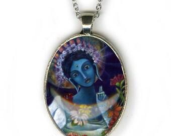 Statement necklace - Blue Tara Goddess - Goddess Jewelry - Goddess Art - girlfriend gift necklace - gifts for her - Buddhist necklace - Boho