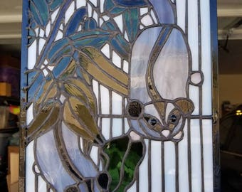 Sugar gliders Stained glass panel love eucalyptus