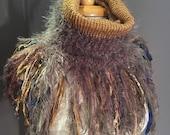Handmade Knit Fur Reversible Cowl with artsy fringe, Knit neckwarmer, turtleneck scarf, taupe scarves, hand spun fibers, bohemian, artwear