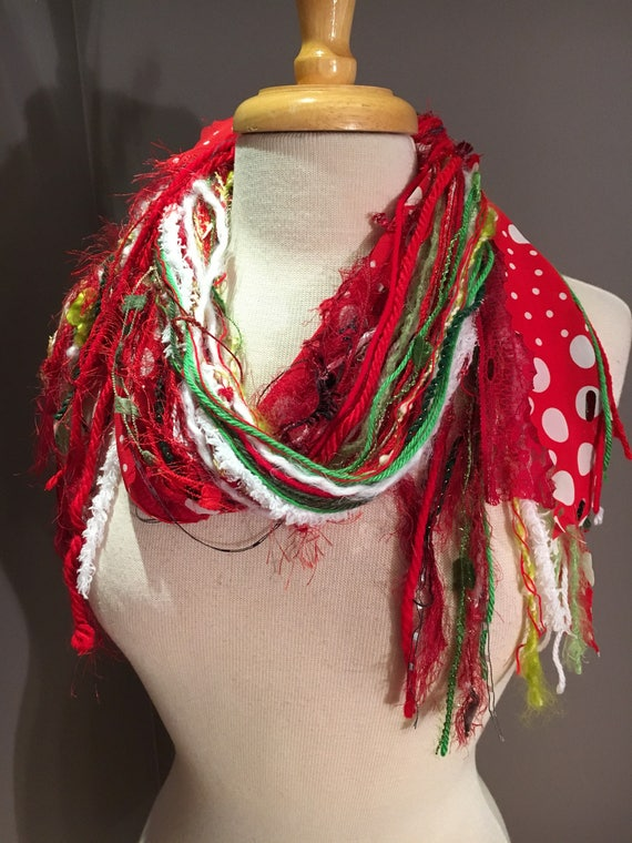 Medium Fringe Scarf, The Grinch Fringie - Christmas scarf in red, lime, green, and white with polka dots, holiday scarf