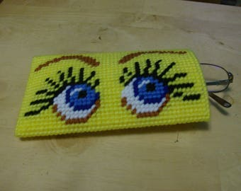 Bright Eyes Eyeglass Case, Needlepoint Eyeglass Case, Bright Eyes Case for Sunglasses or Eyeglasses