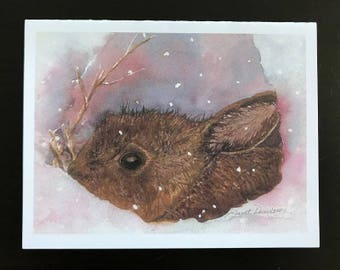 FREE SHIPPING,Bunny ,Note-cards, Winter, Snow, Snowy, Brown Rabbit, Note Cards, Blank Inside , Fine Watercolor Print, Janet Dosenberry